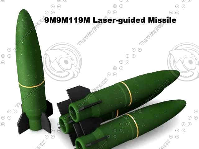 9m119m laser-guided missile 3d max
