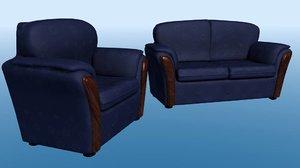 3d settee chair model