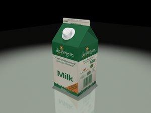 3d milk carton zipped model