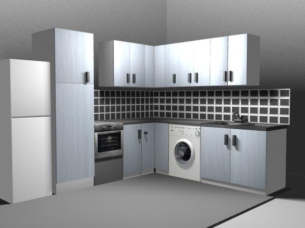 3d model kitchen fridge cooker