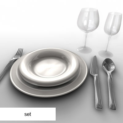 dxf set cutlery dishes glasses