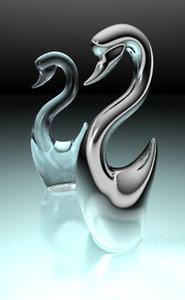 3d model swan bird
