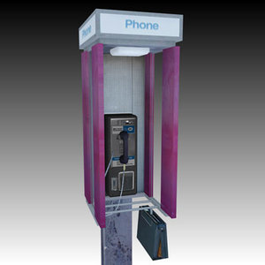 pay phone kiosk 3d 3ds