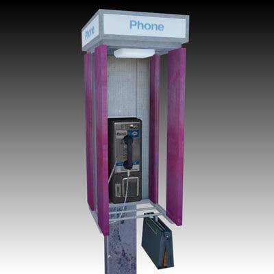 pay phone kiosk 3d 3ds