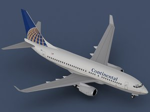 b 737-700 continental airlines 3d max