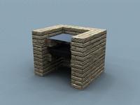 3d brick barbeque model