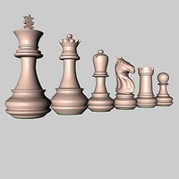 pieces chessmen 3d c4d