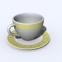 cup saucer 3d lwo