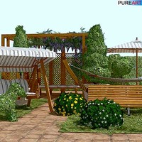 plants garden furniture hammock 3d model