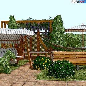 plants garden furniture hammock 3d model