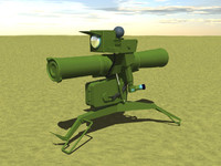 free atgm guided missile 3d model