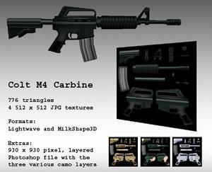 m4 gun modern 3d model