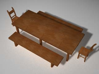 3ds max table bench chairs