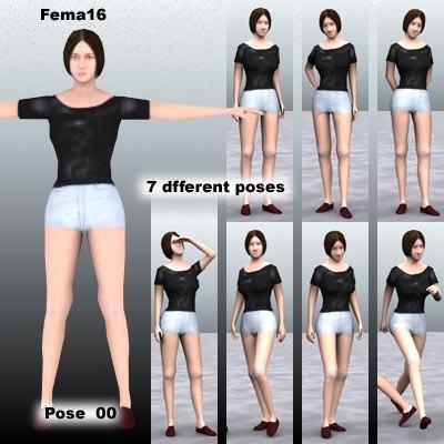 3d human female girl model