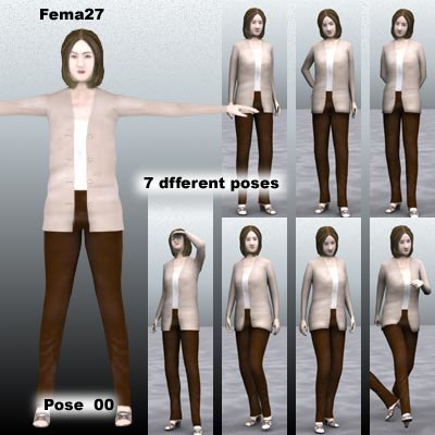human female girl 3d model