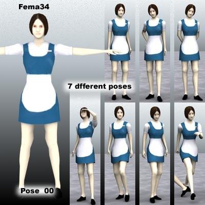 human female girl 3d model