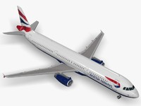 3d model of airbus a321 british airways