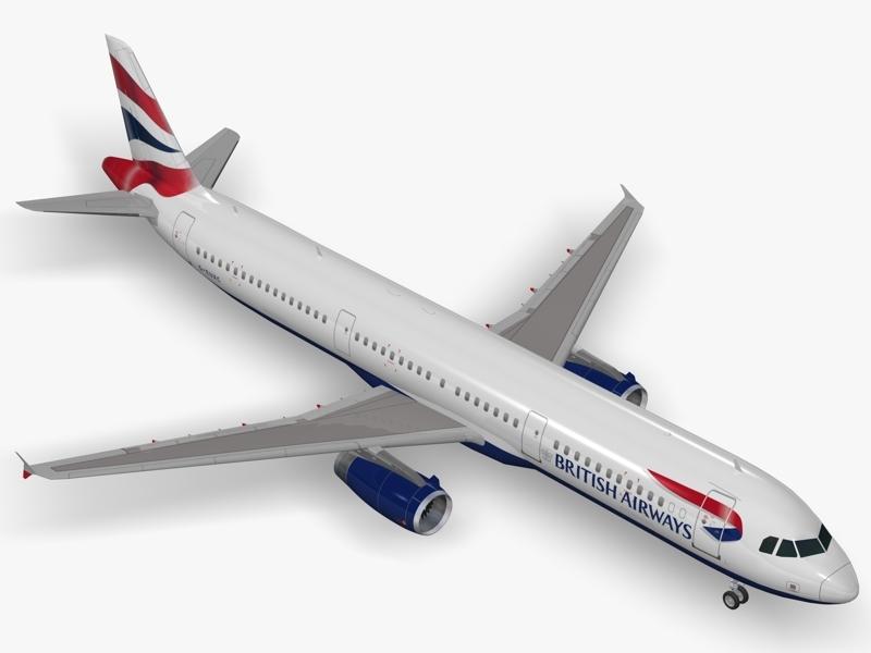 3d model of airbus a321 british airways