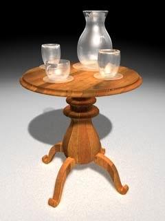 table glasses jug 3d model