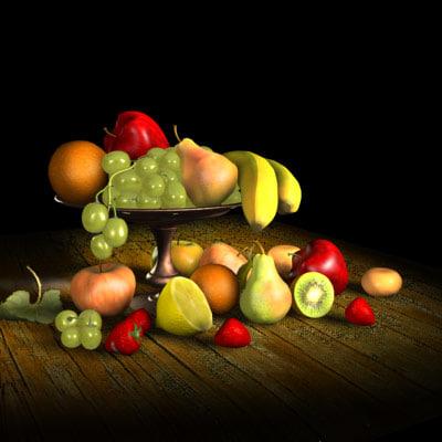 3d model fruit apple pear