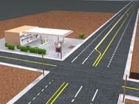 3d model gas station street scene