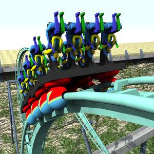 3d rollercoaster roller coaster model