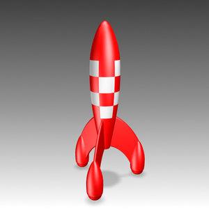 3d tintin rocket