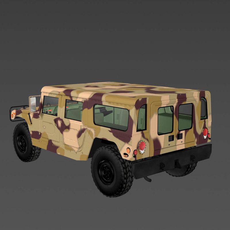 mh1 military hummer 3d model