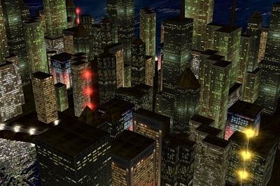 city skyline night 3d model