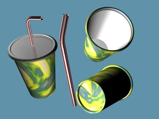 free c4d model drinking cup straw