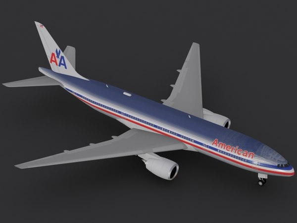 3ds max b 777-200 american airlines