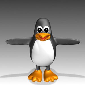 linux penguin 3d model