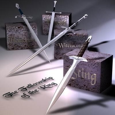 lord swords rings 3d model