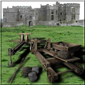 castle weapons catapult ballista 3d model