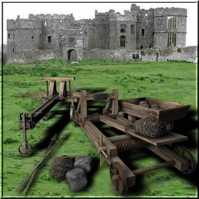 castle weapons catapult ballista 3d model