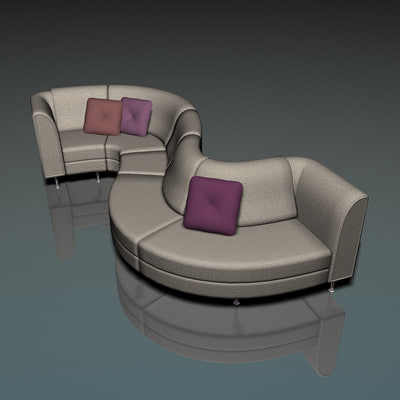 curved couch 3d model