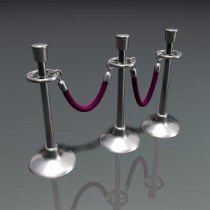 velvet roped stanchions 3d model