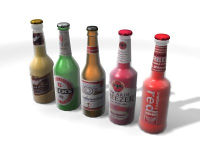beer alco pops bottles 3d max