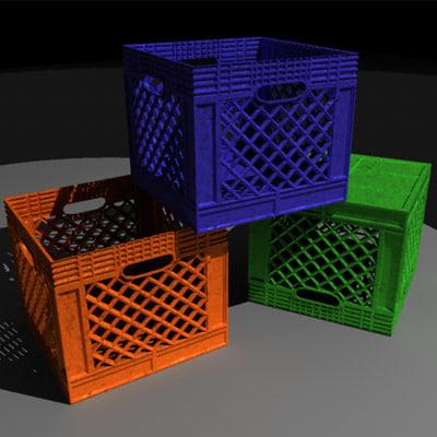 3d milk crate model