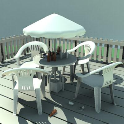 patio table deck chair 3d model