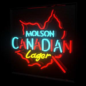 beer sign molson 3d obj