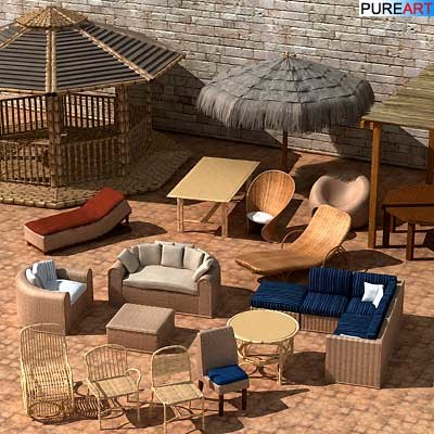 rattan bamboo furniture rota 3d model