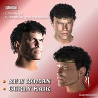 roman curly hair faces 3d model