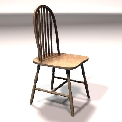 chair dining 3d lwo