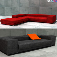upholstered sofa pouf 3d model