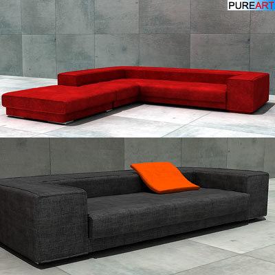 upholstered sofa pouf 3d model