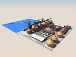 industrial port 3d model