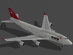 b 747-400 northwest obj