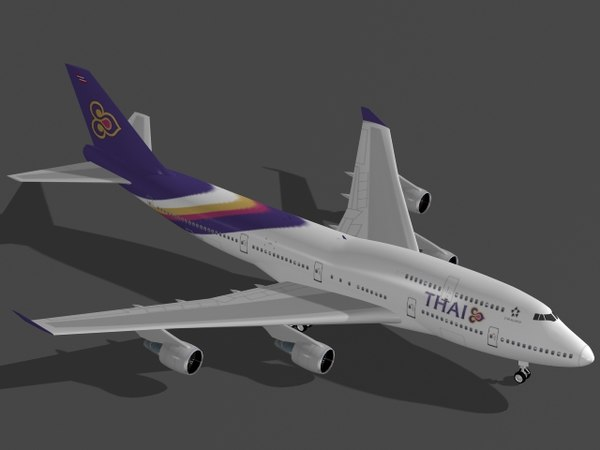 b 747-400 thai airways 3d max