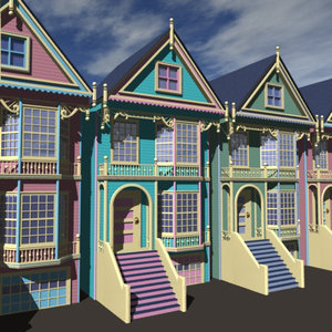 3d victorian houses model